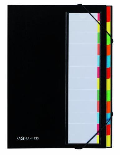 Pagna 44133-04 Deskorganizer 12-teilig Color-Einband, Eckspanngummi, dehnbarer Rücken farbiges Griffregister, schwarz