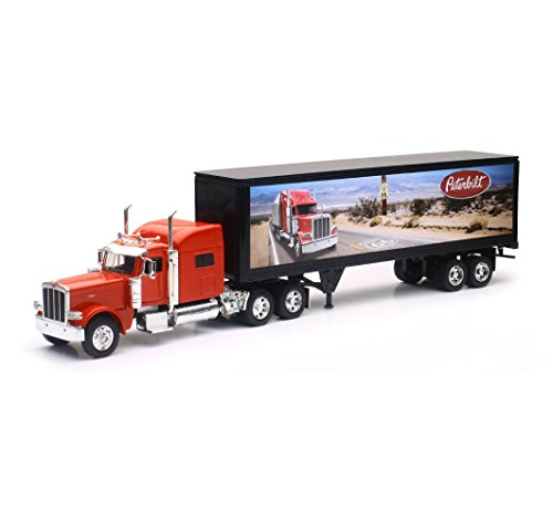Peterbilt Tractor Trailer Semi Truck (NEW 1:32 NEWRAY TRUCK & TRAILER COLLECTION - LONG HAUL TRUCKER RED PETERBILT MODEL 389 ROUTE 66 DESIGN Diecast Model By NEW RAY TOYS)