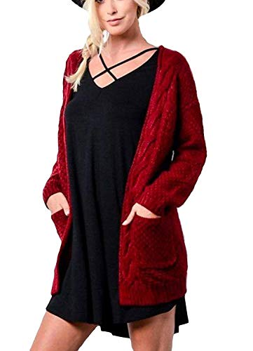 Maglia Lunghe Size Libero Maglia L Forcella Grau Moda Con Mode Cardigan Puro di Donna A Giacca Relaxed Color A Tempo Colore Maniche Cappotto A marca Autunno Aperto Pullover Tasche XUqPfwpn