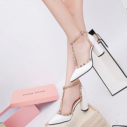 creux épais Cuir bout talons Painted T hauts à épais avec talons à et avec Sandales chaussures chaussures Blanc Printemps élégant 34 hauts d'été femelle à Baotou wgxBfnqgrY