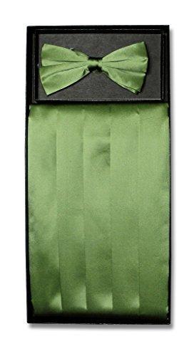 SILK Cumberbund & BowTie Solid OLIVE GREEN Color Men's Cummerbund Bow Tie Set