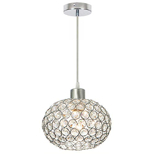 Wtape 1-Light Crystal Ellipses Pendant Lighting,Decorative Chandelier with 55'' Adjustable Cord for Kitchen Island, Dining Room, Bedroom, Living Room,Hotels and Shops