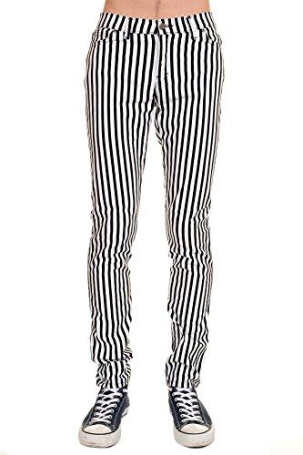 Mens Indie Vintage Retro 60s 70s Mod Black White Striped Stretch Skinny ()