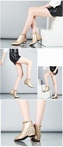 Botas Desnuda UN con Shorts con Zapatos de Punta Mujer Botas con Bajos Ásperas de XAI Tacones Dorada Invierno de Marea ZxUHwqw4f