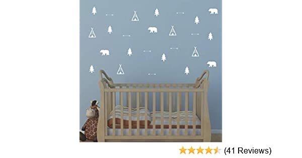 Woodland Wall Decal Trees and Mountains Decor ZzMy Matte Vinyl Wall Stickers for Baby Bedroom Black Y05 Teepees Bears Nursery Wall Decals Arrow