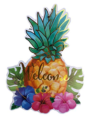 (Summer Welcome Tropical Tiki Beach Party Decoration Signs (Pineapple Welcome Sign))