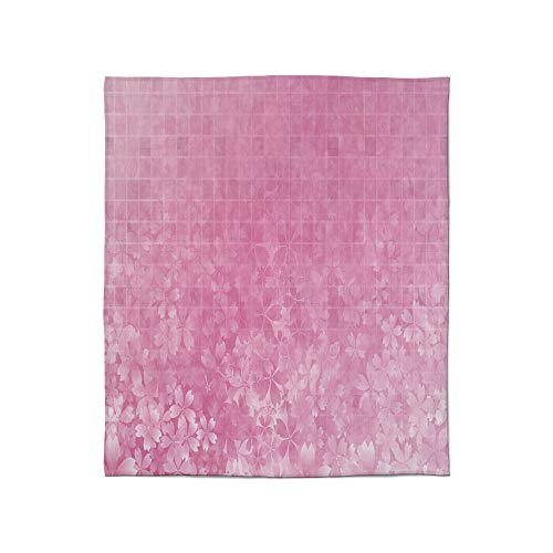 (C COABALLA Lightweight Blanket,Light Pink,for Bed Couch Chair Fall Winter Spring Living Room,Size Throw/Twin/Queen/King,Fractal Square Shaped Forms with Flower Garden)
