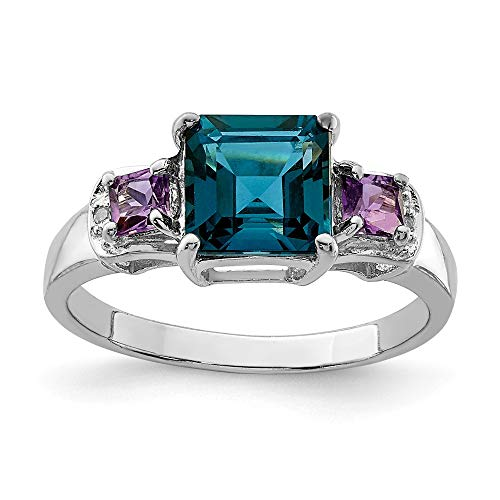 925 Sterling Silver London Blue Topaz Purple Amethyst Diamond Band Ring Size 9.00 Gemstone Fine Jewelry Gifts For Women For -