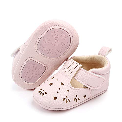 Csfry Infant Baby Girl Mary Jane Flats Toddler Shoes Pink