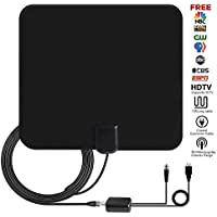 TV Antenna, Ucio 1080P 50 Miles Range Amplfied HDTV Antenna with Detachable Signal Booster, USB Power Supply Digital HDTV Antenna Indoor with 13 FT Coax Cable for Local Channels