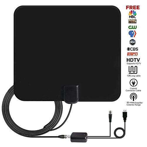 Hdtv Channel (TV Antenna, Ucio 1080P 50 Miles Range Amplfied HDTV Antenna with Detachable Signal Booster, USB Power Supply Digital HDTV Antenna Indoor with 13 FT Coax Cable for Local Channels)