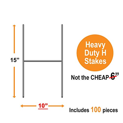 Bundled Pack of 100 Quantity Heavy Duty Metal 15-inch H-Stakes''H'' Frame Wire Stakes - Yard Sign Stake - Use with 4mm or 5mm Corrugated Signs by Vibe Ink (Image #2)