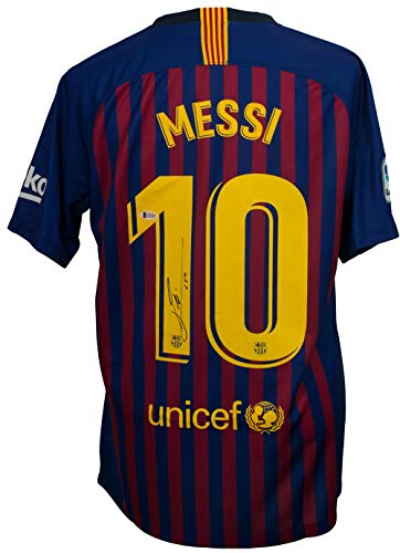 7d67e6b37 Lionel Messi Signed Nike Barcelona Home Soccer Jersey Large Beckett+Messi  COA
