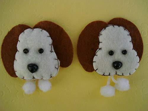 10 Hand Made Craft Felt Puppy Dog Head Applique/Doll/Baby/Padded/Craft #ID-829