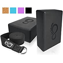 Premium Yoga Blocks & Metal D Ring Strap Yogi Set (3PC) 2 Pack High Density EVA Foam Blocks to Support & Deepen Poses, Improve Strength, Flexibility & Balance - Lightweight, Odor & Moisture Resistant
