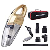 Car Vacuum Cleaner, EFORCAR Cordless Wet/Dry Vacuum Cleaner with 2200mAH Rechargeable Battery (Non Removable & Pre-installed),Carry Bag, 3KPA Powerful Suction Hand-held Vacuum Cleaner (12V 100W Gold)