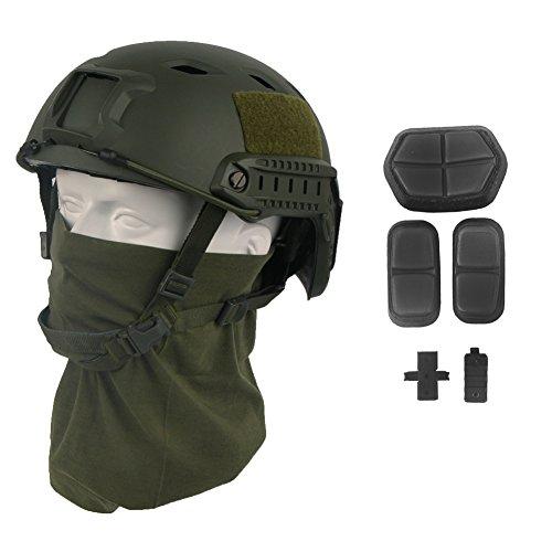 LOOGU Fast BJ Base Jump Military Helmet with 12-in-1 Headwear (OD)