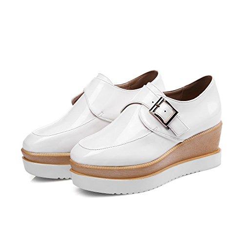 VogueZone009 Damen Rein Blend-Materialien Mittler Ziehen auf Rund Zehe Pumps Schuhe Weiß