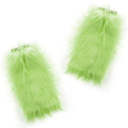 Fun Central BC588 2pcs Furry Leg Warmers Winter Wonderland Party, St. Patrick' Day, Retro Party, Disco Party, Mardi Gras, Birthday, Christmas, Costume Party, Gifts Neon Green -