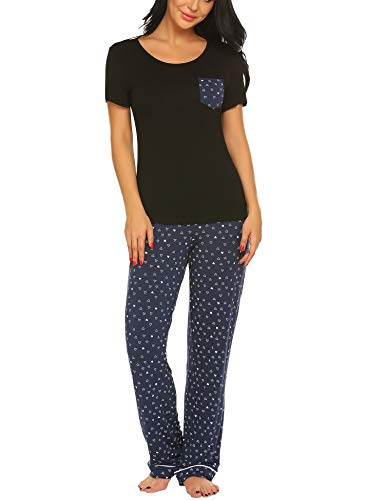 Ekouaer Women's Pjs Set with Capris Pants Print Sleepwear Plus Size, Black, XX Large