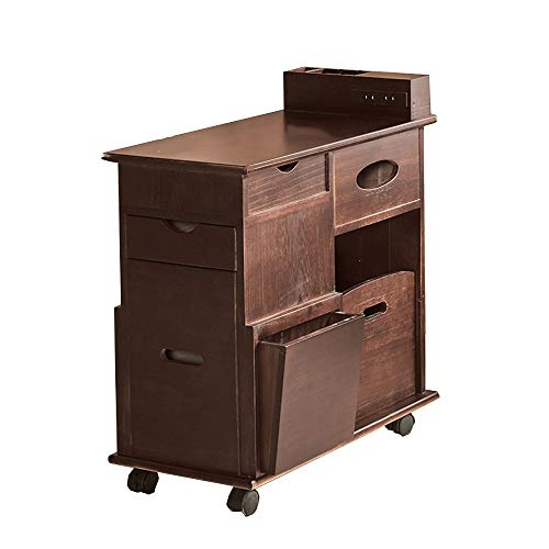 Folding desk Sofa Side Cabinet with Wheel Solid Wood Coffee Table Living Room Locker Drawer 6 Colors 286056.5cm (Color : F)