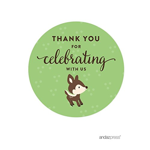 Andaz Press Birthday and Baby Shower Round Circle Labels Stickers, Thank You for Celebrating With Us, Woodland Animals Deer, 40-Pack, For Gifts and Party Favors