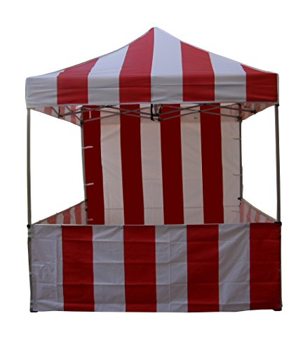 (Impact Canopy 8' x 8' Pop-Up Canopy Tent, Carnival Tent Kit with Powder-Coated Steel Frame, Sidewall, and Half Walls, Red/White Stripe)