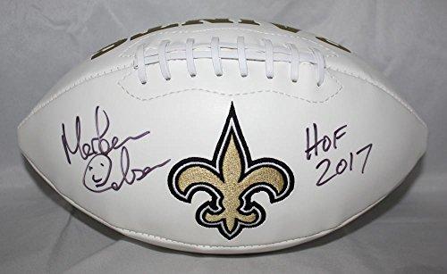 Morten Andersen HOF 2017 Autographed New Orleans Saints Logo Football JSA W (New Orleans Saints Signature Football)