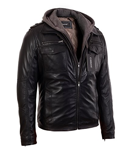 32cbcee42f319 Corbani Mens Black Bomber Lambskin Real Leather Jacket with Hood (Large