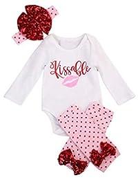 SUPEYA Baby Girls Valentine's Day Letter Print Rompers+Dot Leg Warmers+Headband Set