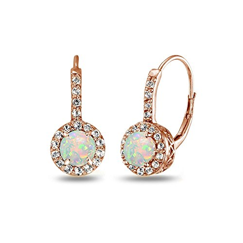Rose Gold Flashed Sterling Silver Genuine, Created, or Simulated Gemstone & White Topaz Round Dainty Halo Leverback Earrings
