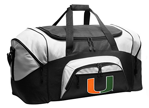 Large Miami Canes Duffel Bag University of Miami Gym Bags or Suitcase by Broad Bay