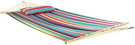 Sunnydaze Hammock Cotton Fabric w/Spreader Bar and Detachable Pillow