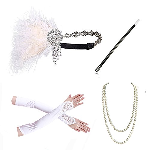 1920s accessories Headband Necklace Gloves Cigarette Holder Flapper Costume accessories Set For Women (B)