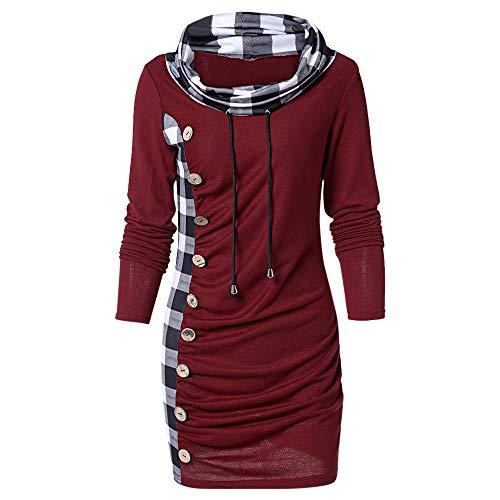 KCatsy Funnel Collar Long Sleeve Spliced Plaid Print Button Bodycon Women Mini Dress Red ()