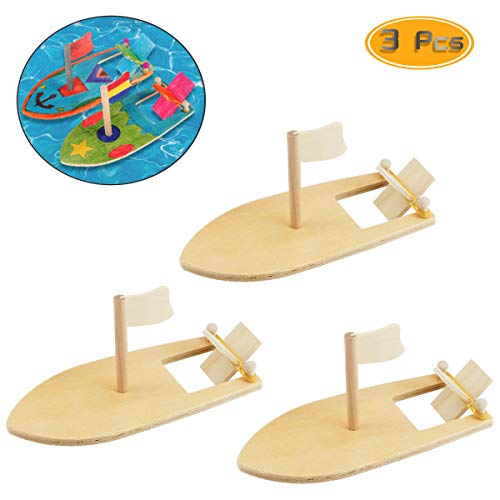 Wpxmer 3 Pack DIY Wood Sailboat Rubber Band Paddle Boat, Can be Painted and Decorated Make Your Own Wooden Sailboat -