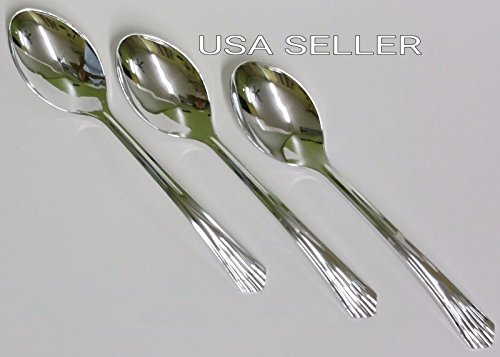 48 Plastic Silver SPOONS / Disposable Cutlery Look of Silverware