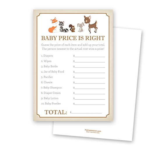 24 cnt Woodland Animals Baby Shower Price is Right Game by MyExpression.com