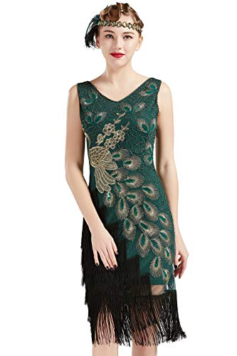 BABEYOND 1920s Vintage Peacock Sequined Dress Gatsby Fringed Flapper Dress Roaring 20s Party Dress (Dark Green with Black Fringe, X-Large) (Peacock Party Dress)
