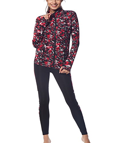 BELLEZIVA Women's Yoga Two Pieces Long Sleeve Zip up Pullover Tracksuits XL Mottled Red