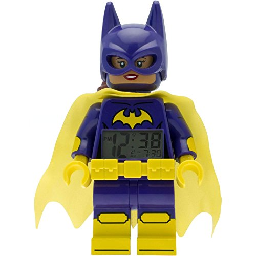 09334 Batgirl Kids Minifigure Alarm Clock | Purple/Yellow | Plastic | 9.5 inches Tall | LCD Display | boy Girl | Official ()