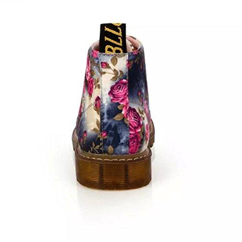 Longra stivaletti Blu Fiore Donna stivali PU Materiale Martin fondo floreale Moda superiore pizzo Morbido stampa r6Oprw