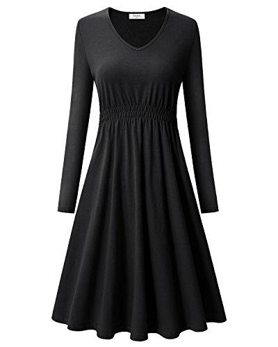 Ca Kra Vestidos de Mujer Invierno con Manga Larga Elegante Vestidos de noche Negro