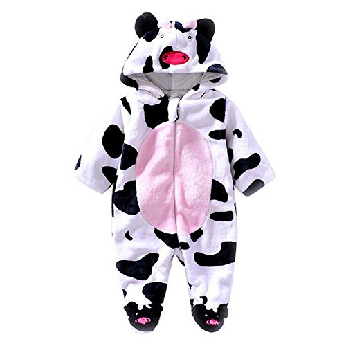 Unisex Baby Jumpsuits-Girl Boys Cosplay Costume Fleece Romper Animal Hoodie Onesie Pajamas Outfits Suit by Exemaba (6-9 Months, Cows)