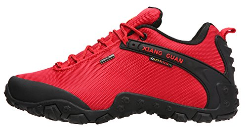 XIANG GUAN Women's Outdoor Low-Top Oxford Water Resistant Trekking Hiking Shoes Red