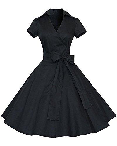 YiLianDa Mangas Corta Retro Audrey Hepburn Estilo V- Collar Delgado Swing Vestidos de Noche Negro