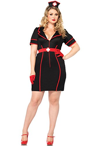 Leg Avenue Women's Plus-Size 3 Piece Naughty Night Nurse, Black/Red, 1X/2X