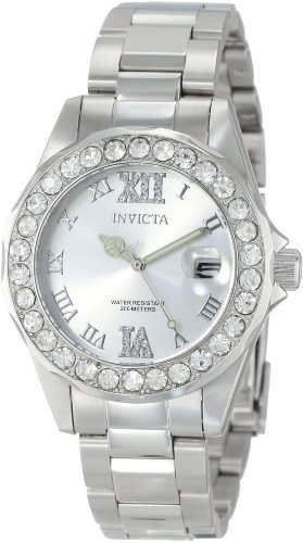 Price comparison product image Invicta Women's 15251 Pro Diver Silver Dial Crystal Accented Stainless Steel Watch