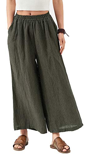 (Ecupper Ladies Womens Linen Wide Leg Cropped Pants Stripe Elastic Waist Baggy Loose Trousers Dark Gray Stripe 3XL)