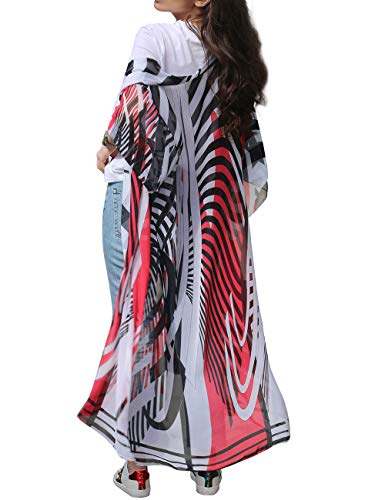 shermie Long Sheer Floral Kimono Cardigan Chiffon Bikini Beach Cover ups for Women (Red Zebra,Print 9)